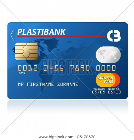 Blue credit card vector illustration, highly detailed