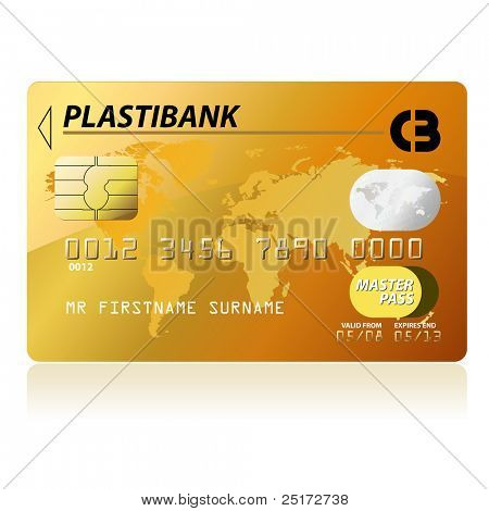 Gold credit card vector illustration, highly detailed