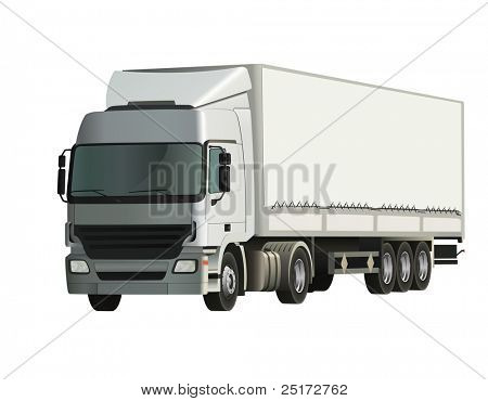 Semi-trailer truck, detailed and realistic vector illustration poster