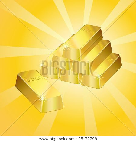 Shiny gold bars over a retro style background