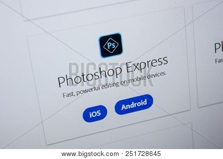 Ryazan, Russia - July 11, 2018: Adobe Photoshop Express, Software Logo On The Official Website Of Ad