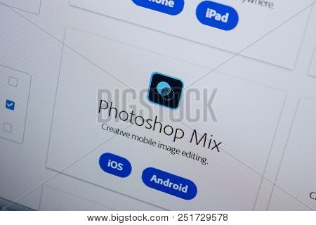 Ryazan, Russia - July 11, 2018: Adobe Photoshop Mix, Software Logo On The Official Website Of Adobe