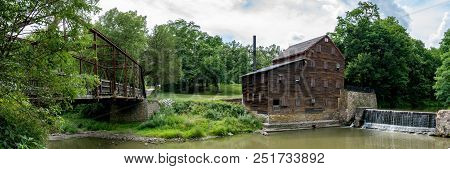 Muscatine County, Iowa/usa- July 18, 2018: Panorama Of Historic Pine Creek Gristmill And Pine Mill B