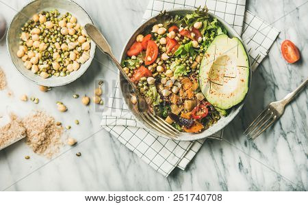 Vegan Lunch Bowl. Flat-lay Of Dinner With Avocado, Grains, Beans, Sprouts, Greens And Vegetables Ove