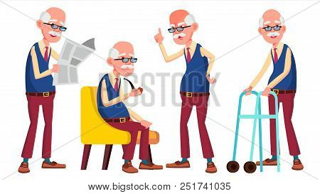 Old Man Poses Set Vector. Elderly People. Senior Person. Aged. Friendly Grandparent. Banner, Flyer,