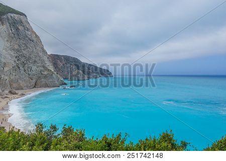 White Beach With Blue Sea, Porto Katsiki Beach Lefkada, In Greece
