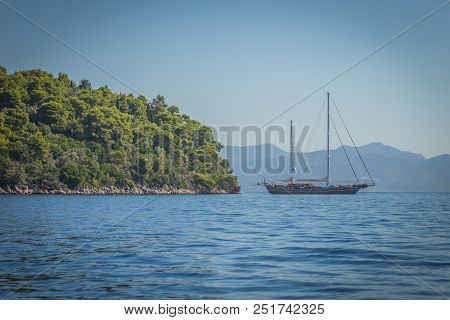 A Well Designed Sailboat At Sea By Lefkada, In Greece