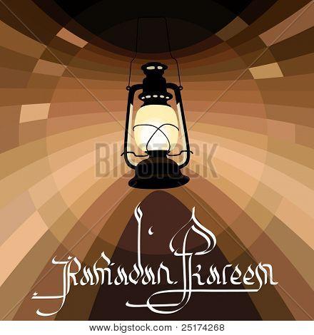 Illustration of Classic Ramadan Lantern with ramadan kareem greetings in english calligraphy