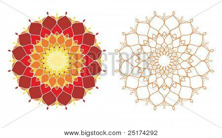 Illustration of geometrical pattern in warm color