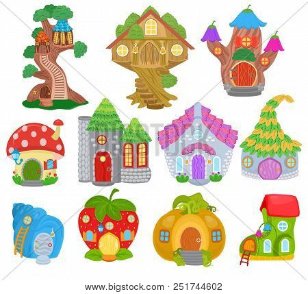 Fantasy House Vector Cartoon Fairy Treehouse And Magic Housing Village Illustration Set Of Kids Fair