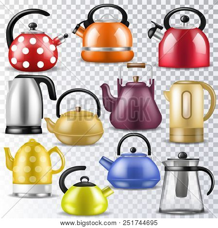 Kettle Vector Teakettle Or Teapot To Drink Tea On Teatime And Boiled Coffee Beverage In Electric Boi