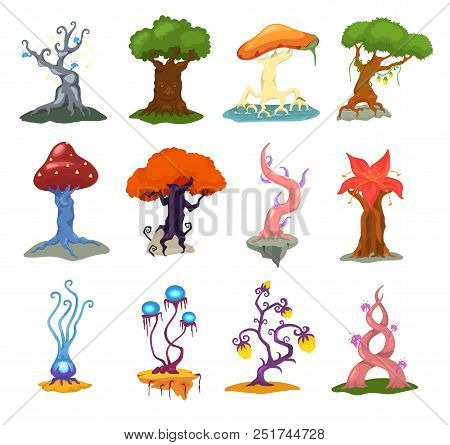 Magic Tree Vector Fantasy Forest With Cartoon Treetops And Magical Plants Or Fairy Flowers Illustrat