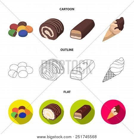 Dragee, Roll, Chocolate Bar, Ice Cream. Chocolate Desserts Set Collection Icons In Cartoon, Outline,