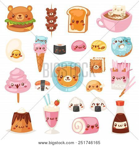Food kawaii vector cartoon bear expression characters of fastfood hamburger with icecream or doughnut emoticon illustration set of burger emotion and coffee emoji isolated on white background. poster