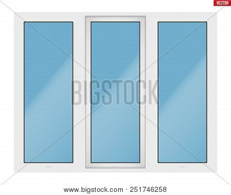 Metal Plastic Pvc Window With Three Sash And One Opening Casement. Outdoor View. Presentation Of Mod