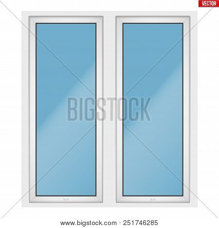 Metal Plastic Pvc Window With Two Sash And Two Opening Casement. Outdoor View. Presentation Of Model