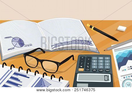 Business Notes And Statistical Documentation Card Vector Illustration With Copybook Glasses Calculat