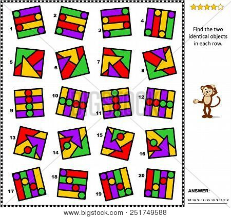 Iq And Spatial Skills Training Abstract Visual Puzzle: Find The Two Identical Objects In Each Row. A