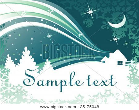 vector abstract winter background with houses and trees
