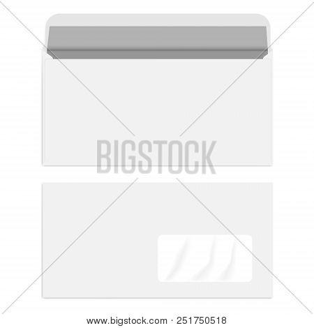 White Right Hand Window Dl Envelope, Vector Mockup
