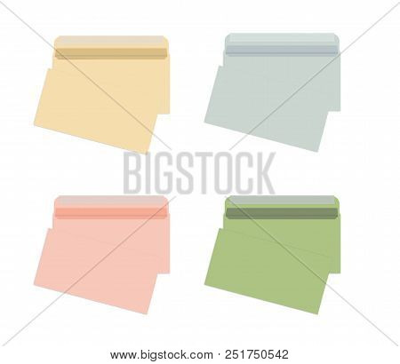 Set Of Blank Colored Envelopes With Self Adhesive Seal Isolated On White Background, Vector Mock Up