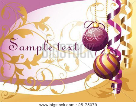 vector christmas background with baubles and curly ribbon
