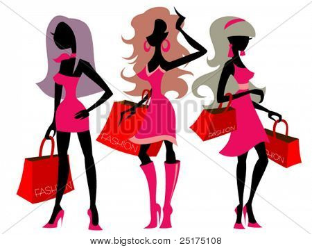 vector illustration with silhouettes of shopping girls
