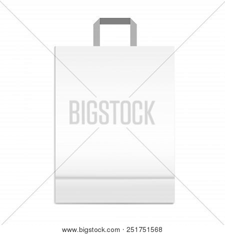 Shopping Or Merchandise Bag With Handle, Vector Mock Up. White Paper Package With Bottom Gusset, Tem