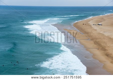 The Coast Of Atlantic Ocean In Nazare, One Of The Most Popular Seaside Resorts In The Silver Coast,