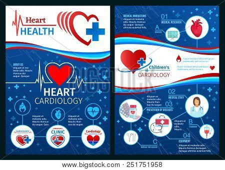 Heart Health Brochure Or Cardiology Clinic Medical Posters. Vector Design Of Cardiologist Doctor Wit