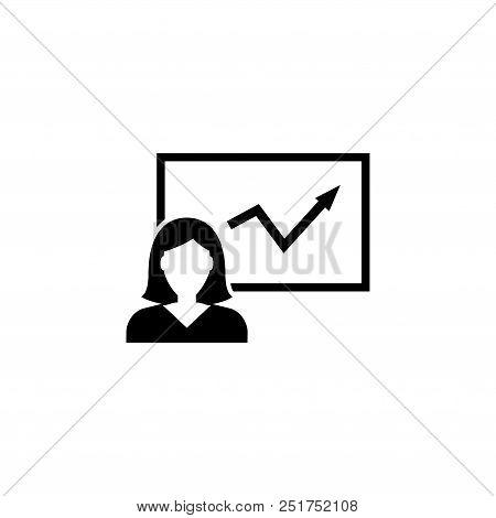 Girl Explaining Chart, Business Presentation. Flat Vector Icon Illustration. Simple Black Symbol On
