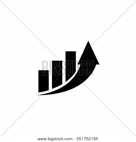 Increase Profit Graph, Growing Arrow. Flat Vector Icon Illustration. Simple Black Symbol On White Ba