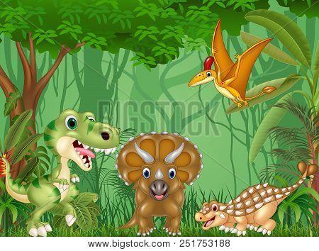 Vector Illustration Of Cartoon Happy Dinosaurs In The Jungle