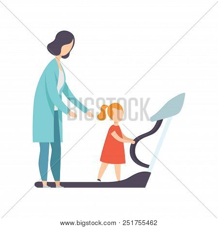 Therapist working with little girl training on treadmill, recovery after trauma, medical rehabilitation, physical therapy activity vector Illustration isolated on a white background. poster
