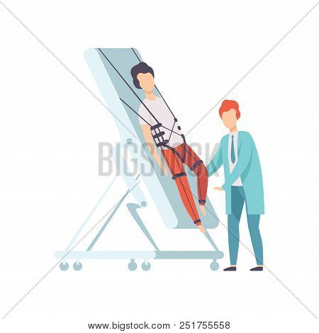 Therapist working with disabled male patient using special equipment, recovery after trauma, medical rehabilitation, physical therapy activity vector Illustration isolated on a white background. poster