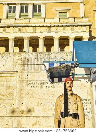 Athens, Greece - June 29, 2018. An Greek Presidential Guard, Evzone, Standing In Front Of Principal