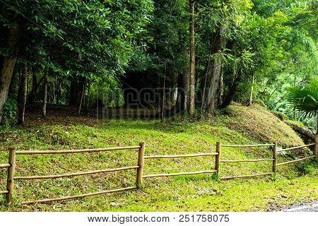 Fence Bamboo Walking The Si Dit Waterfall , Phetchabun In Thailand.