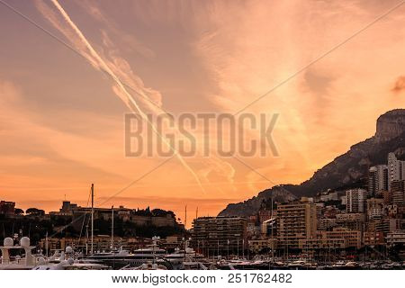 Monaco, Monte Carlo Harbor In The French Riviera At Dusk.