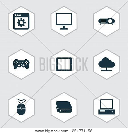 Gadget Icons Set With Online Cloud, Projector, Control Device And Other Desktop Elements. Isolated V