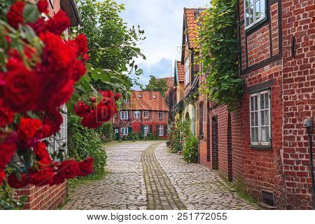 Beautiful Cozy Street Of The Old Town Of Luneburg In Germany. A Street In A Small German City, Cozy