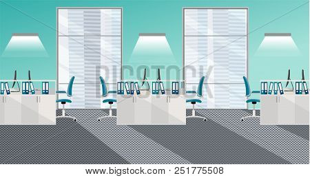 Flat Vector Illustration Of Modern Office Room Interior With Large Windows In Skyscraper With Furnit