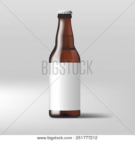 Realistic Clear Beer Bottle With White Label. Eps10 Vector