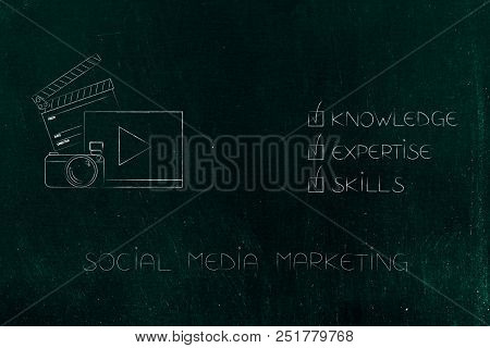 Knowledge Expertise And Skills Conceptual Illustration: Ticked Off Captions Next To Social Media Mar