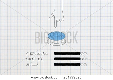 Knowledge Expertise And Skills Conceptual Illustration: Progress Bars At 100 Per Cent Next To Hand P
