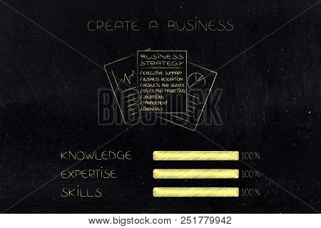Knowledge Expertise And Skills Conceptual Illustration: Progress Bars At 100 Per Cent Next To Busine