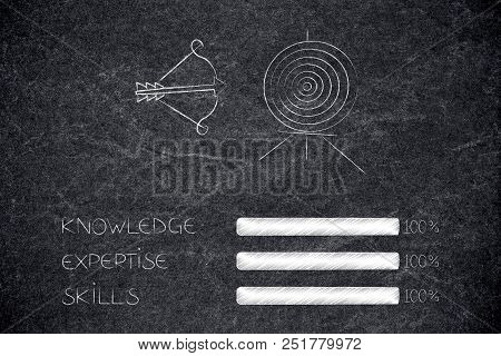 Knowledge Expertise And Skills Conceptual Illustration: Progress Bars At 100 Per Cent Next To Target