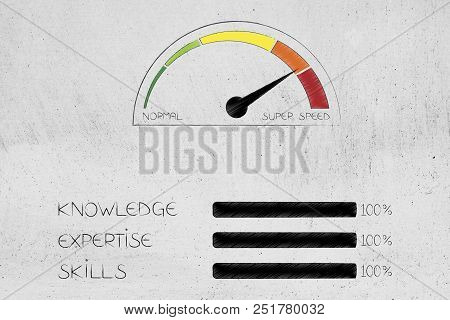 Knowledge Expertise And Skills Conceptual Illustration: Progress Bars At 100 Per Cent Next To Speedo