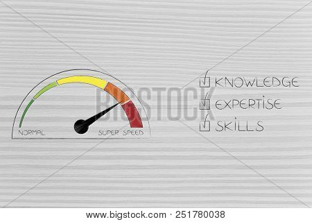 Knowledge Expertise And Skills Conceptual Illustration: Ticked Off Captions Next To Speedometer On S