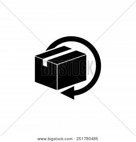 Delivery And Free Return Gifts Or Parcels. Flat Vector Icon Illustration. Simple Black Symbol On Whi
