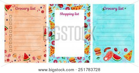 Set Of Three Shopping And Grocery Lists Templates With Watercolor Illustration Of Assorted Food. Des